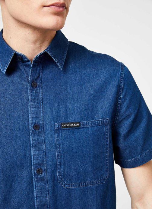 Vêtements Calvin Klein Jeans INDIGO INSTIT POCKET REG SS Bleu vue face