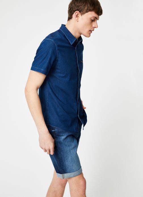 Vêtements Calvin Klein Jeans INDIGO INSTIT POCKET REG SS Bleu vue droite