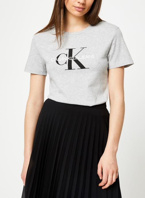 Vêtements Calvin Klein Jeans Core Monogram Logo Regular Fit Tee Gris vue droite