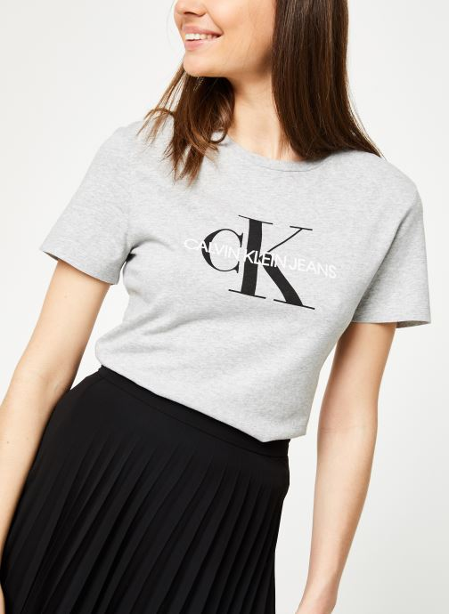 Vêtements Calvin Klein Jeans Core Monogram Logo Regular Fit Tee Gris vue détail/paire