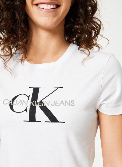 Vêtements Calvin Klein Jeans Core Monogram Logo Regular Fit Tee Blanc vue face
