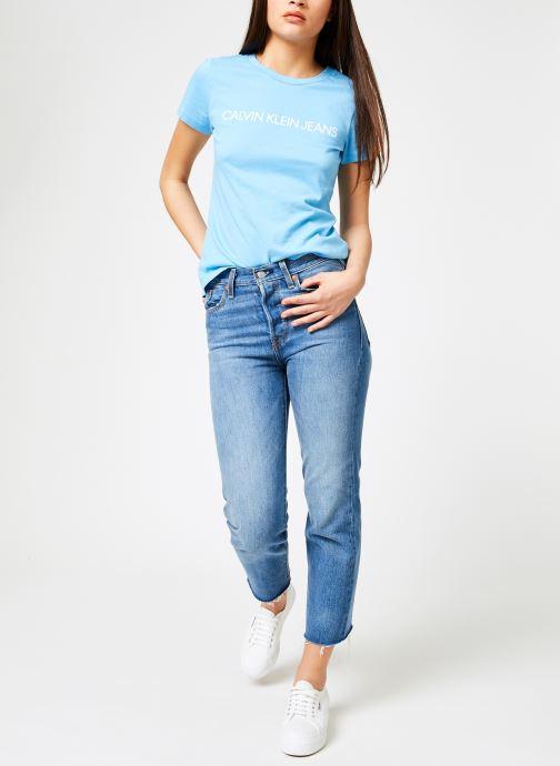 Vêtements Calvin Klein Jeans Institutional Logo Slim Fit Tee Bleu vue bas / vue portée sac