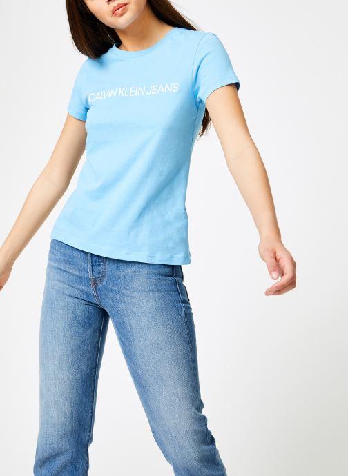 Vêtements Calvin Klein Jeans Institutional Logo Slim Fit Tee Bleu vue droite