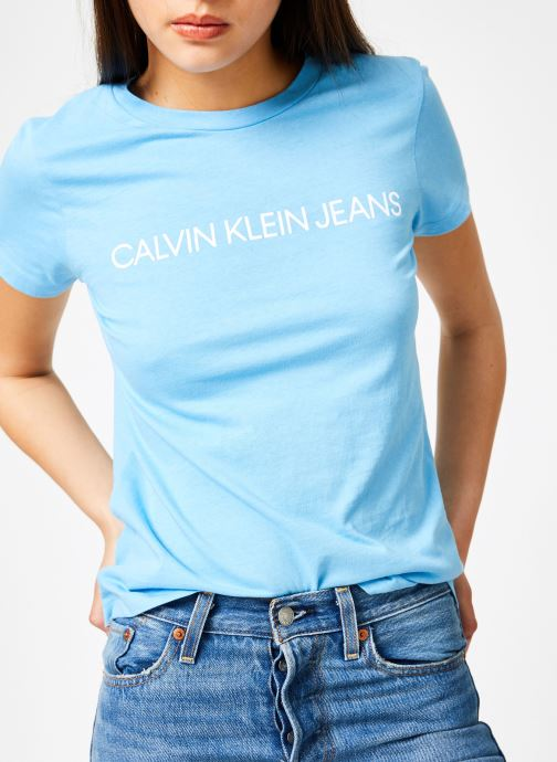Vêtements Calvin Klein Jeans Institutional Logo Slim Fit Tee Bleu vue détail/paire