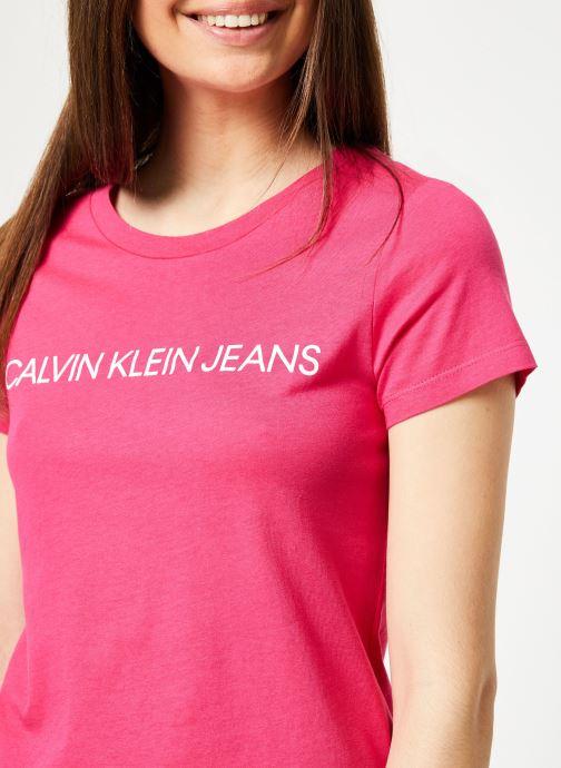 Kleding Calvin Klein Jeans Institutional Logo Slim Fit Tee Roze voorkant