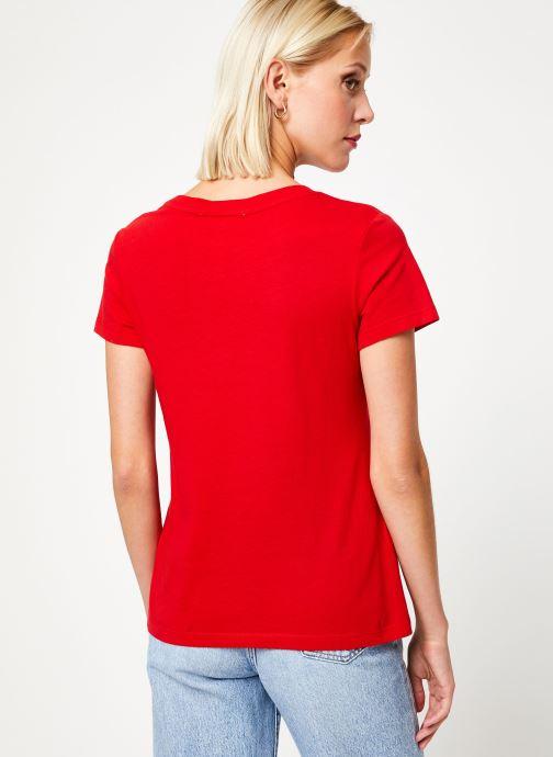 Vêtements Calvin Klein Jeans Institutional Logo Slim Fit Tee Rouge vue portées chaussures