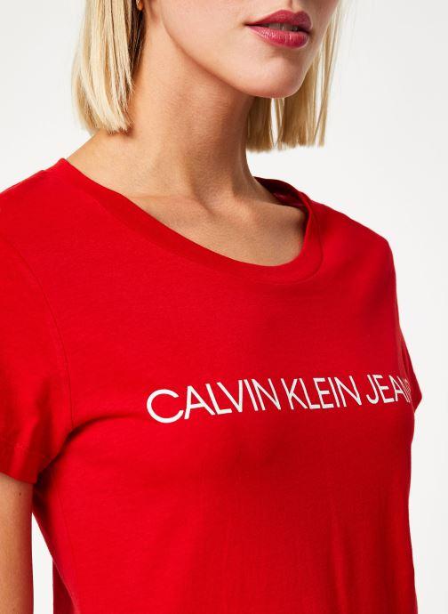 Kleding Calvin Klein Jeans Institutional Logo Slim Fit Tee Rood voorkant