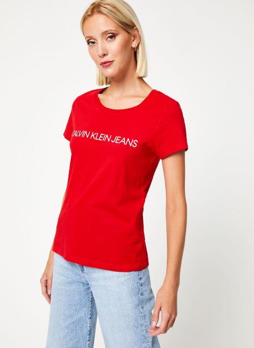Kleding Calvin Klein Jeans Institutional Logo Slim Fit Tee Rood detail