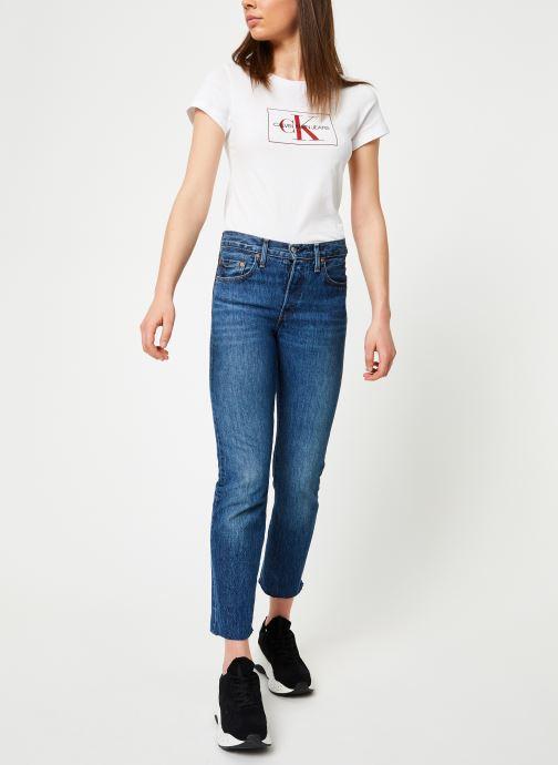 Vêtements Calvin Klein Jeans Outline Monogram Slim Fit Blanc vue bas / vue portée sac