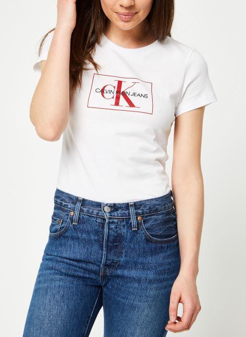 Vêtements Calvin Klein Jeans Outline Monogram Slim Fit Blanc vue droite