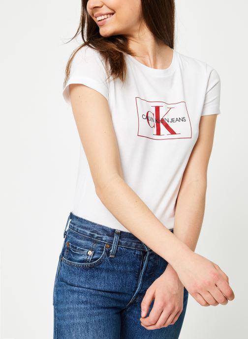 Vêtements Calvin Klein Jeans Outline Monogram Slim Fit Blanc vue détail/paire