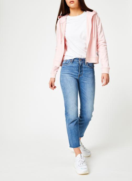 Kleding Calvin Klein Jeans Boxy Zip Up Monogram Badge Roze onder