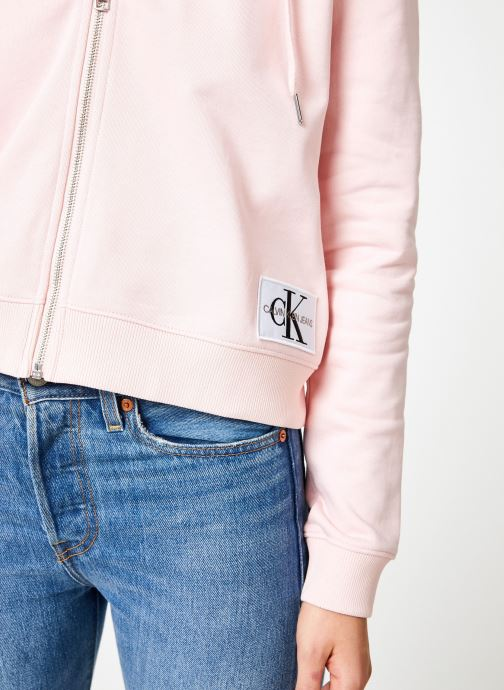 Kleding Calvin Klein Jeans Boxy Zip Up Monogram Badge Roze voorkant