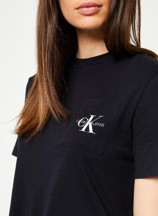 Vêtements Calvin Klein Jeans Monogram Crop Pocket Tee Noir vue face