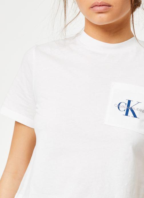 Vêtements Calvin Klein Jeans Monogram Crop Pocket Tee Blanc vue face