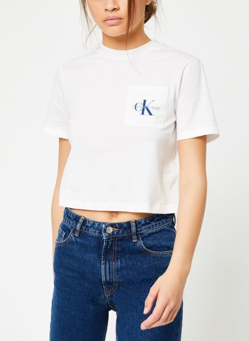 Vêtements Calvin Klein Jeans Monogram Crop Pocket Tee Blanc vue droite