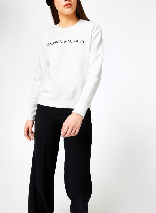 Kleding Calvin Klein Jeans Institutional Regular Crew Neck Wit rechts