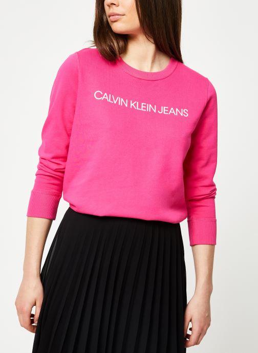 Kleding Calvin Klein Jeans Institutional Regular Crew Neck Roze rechts