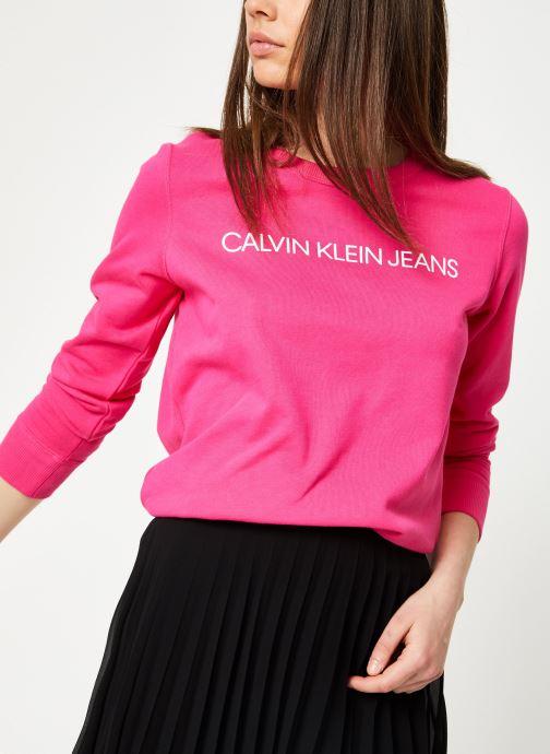 Kleding Calvin Klein Jeans Institutional Regular Crew Neck Roze detail