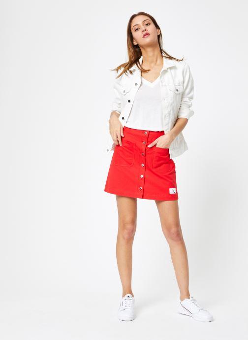 Vêtements Calvin Klein Jeans Cotton Twill Mini Skirt Rouge vue bas / vue portée sac