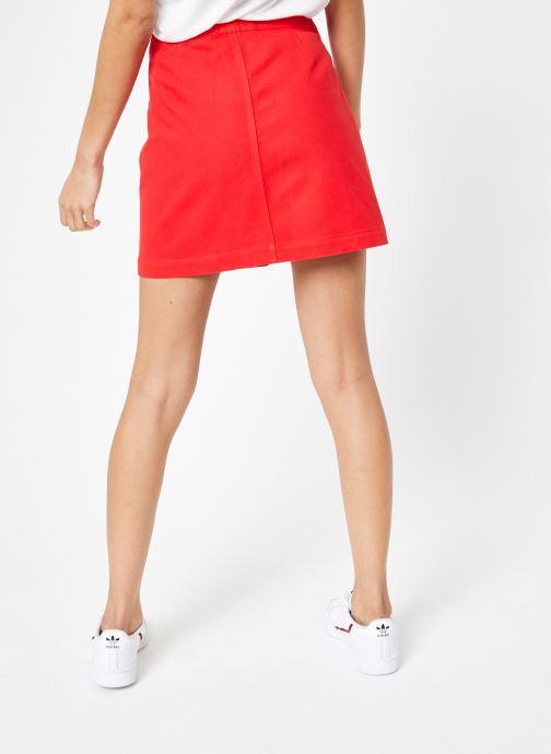 Vêtements Calvin Klein Jeans Cotton Twill Mini Skirt Rouge vue portées chaussures