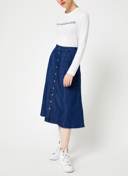 Vêtements Calvin Klein Jeans Midi Skirt Indigo Tencel Bleu vue bas / vue portée sac