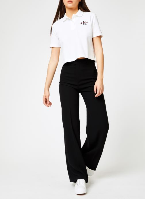 Vêtements Calvin Klein Jeans Embroidered Cropped SS Polo Blanc vue bas / vue portée sac