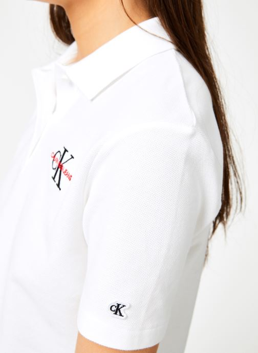 Vêtements Calvin Klein Jeans Embroidered Cropped SS Polo Blanc vue face