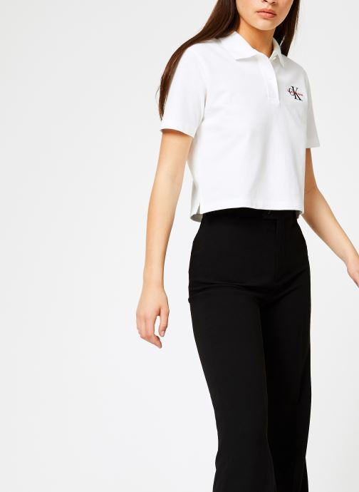 Vêtements Calvin Klein Jeans Embroidered Cropped SS Polo Blanc vue droite