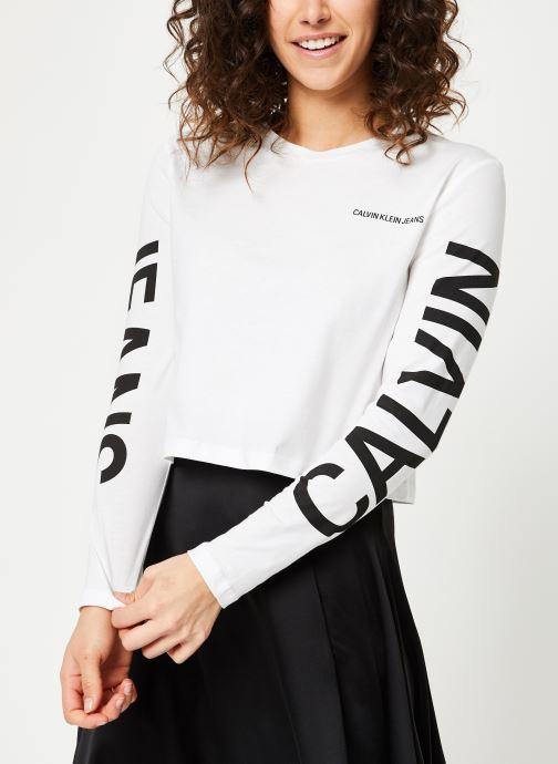 Vêtements Calvin Klein Jeans Institutional Back Logo LS Blanc vue droite