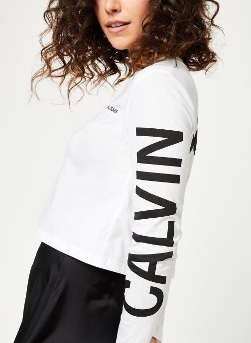 Vêtements Calvin Klein Jeans Institutional Back Logo LS Blanc vue détail/paire