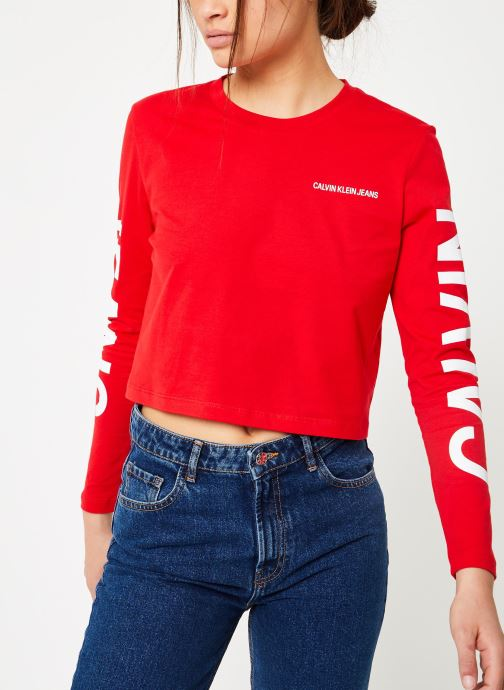 Kleding Calvin Klein Jeans Institutional Back Logo LS Rood rechts