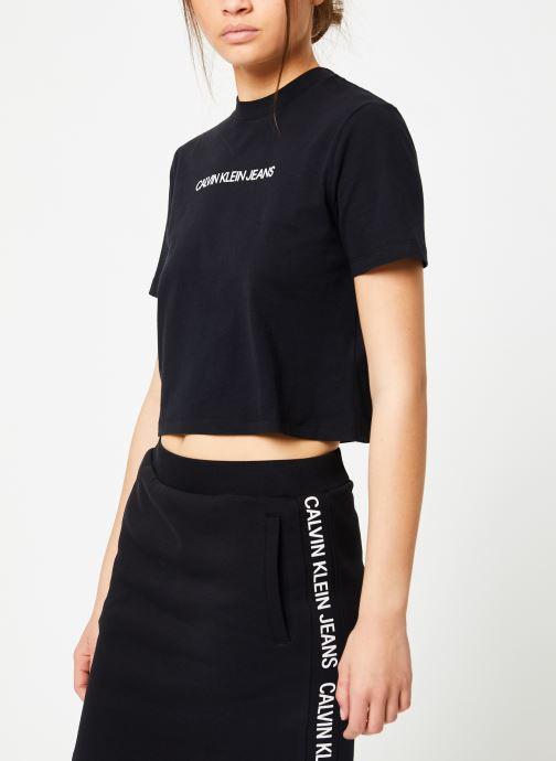 Vêtements Calvin Klein Jeans Shrunken Institutional Crop SS Noir vue droite