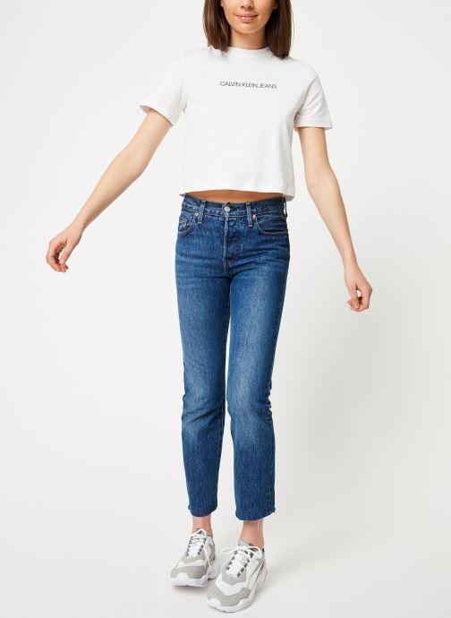 Vêtements Calvin Klein Jeans Shrunken Institutional Crop SS Blanc vue bas / vue portée sac