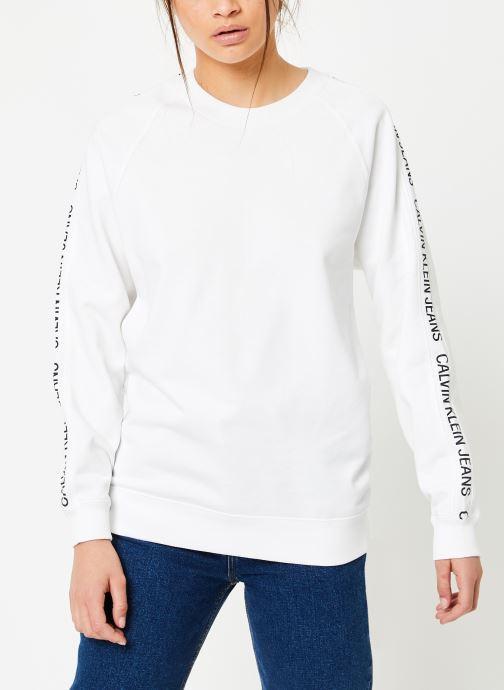 Vêtements Calvin Klein Jeans Inst Track Rel Raglan CN Blanc vue droite