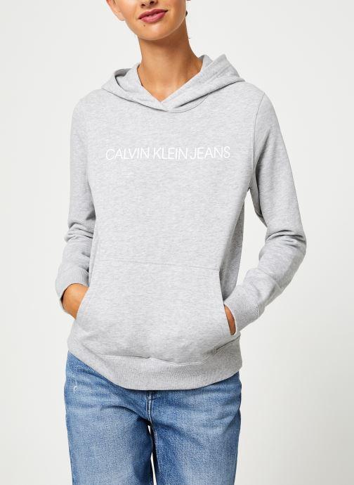 Kleding Calvin Klein Jeans Institutional Hoodie Grijs detail