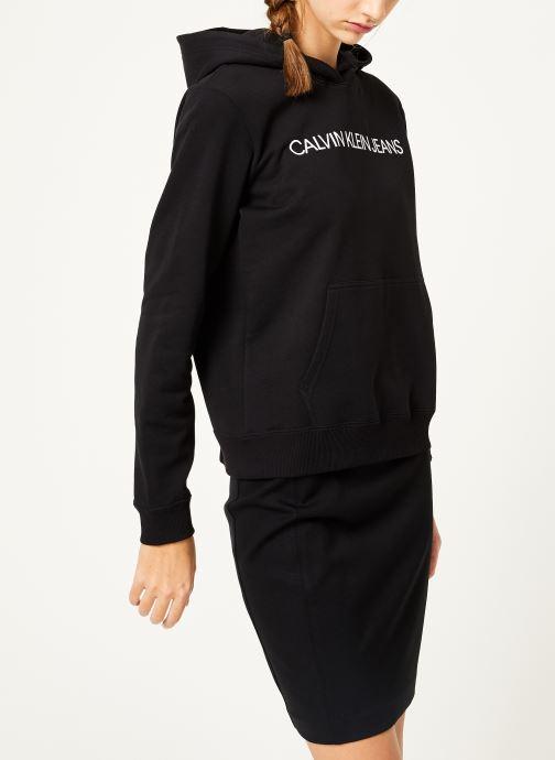 Vêtements Calvin Klein Jeans Institutional Hoodie Noir vue droite