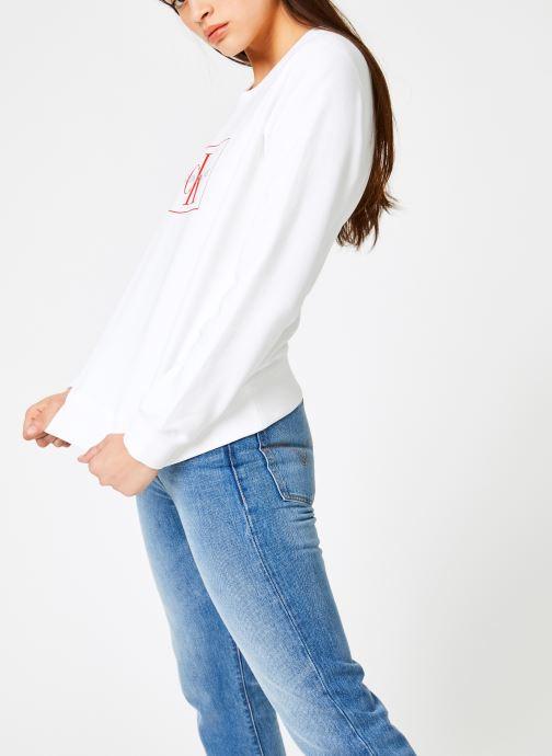Kleding Calvin Klein Jeans Monogram Outline Box CN Wit rechts