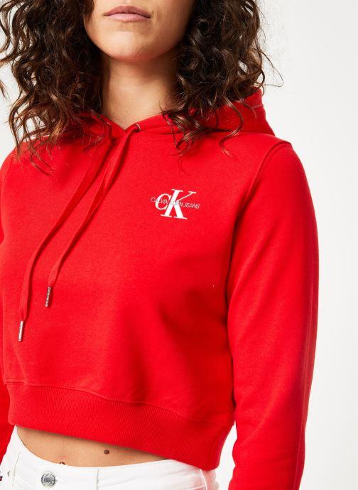 Kleding Calvin Klein Jeans Monogram Embroidery Hoodie Rood voorkant