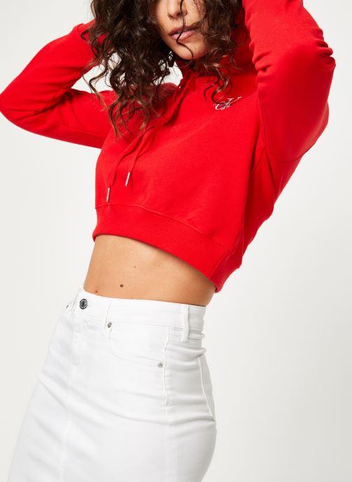 Kleding Calvin Klein Jeans Monogram Embroidery Hoodie Rood detail
