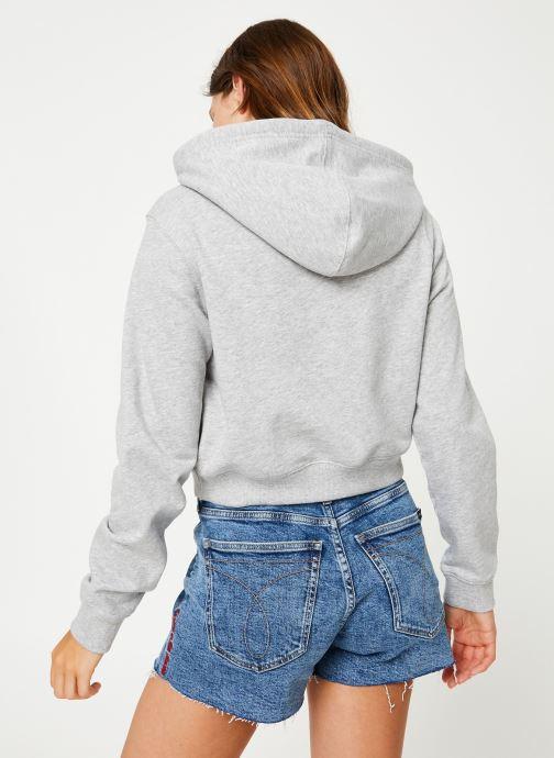 Vêtements Calvin Klein Jeans Monogram Embroidery Hoodie Gris vue portées chaussures