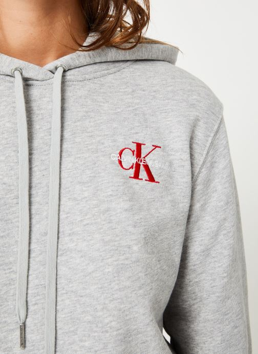 Vêtements Calvin Klein Jeans Monogram Embroidery Hoodie Gris vue face