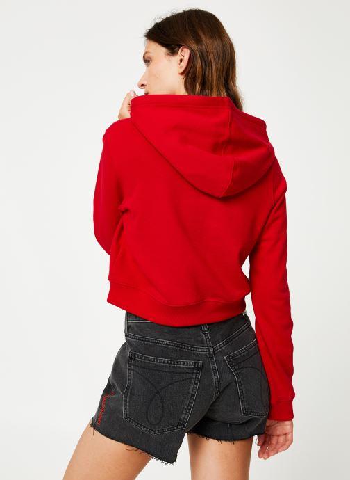 Vêtements Calvin Klein Jeans Monogram Embroidery Hoodie Rouge vue portées chaussures