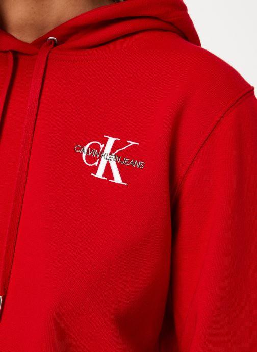 Vêtements Calvin Klein Jeans Monogram Embroidery Hoodie Rouge vue face