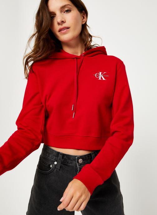 Vêtements Calvin Klein Jeans Monogram Embroidery Hoodie Rouge vue détail/paire