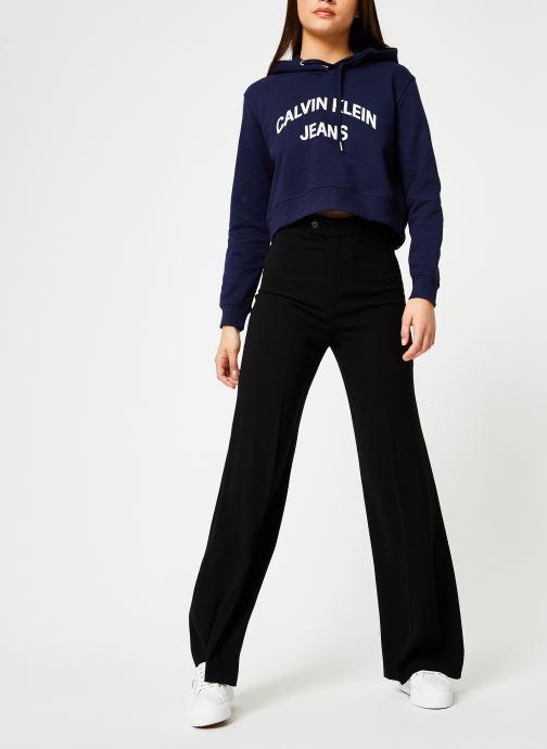 Kleding Calvin Klein Jeans Instit Curved Logo Crop Hoodie Blauw onder