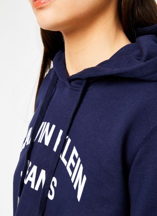 Kleding Calvin Klein Jeans Instit Curved Logo Crop Hoodie Blauw voorkant