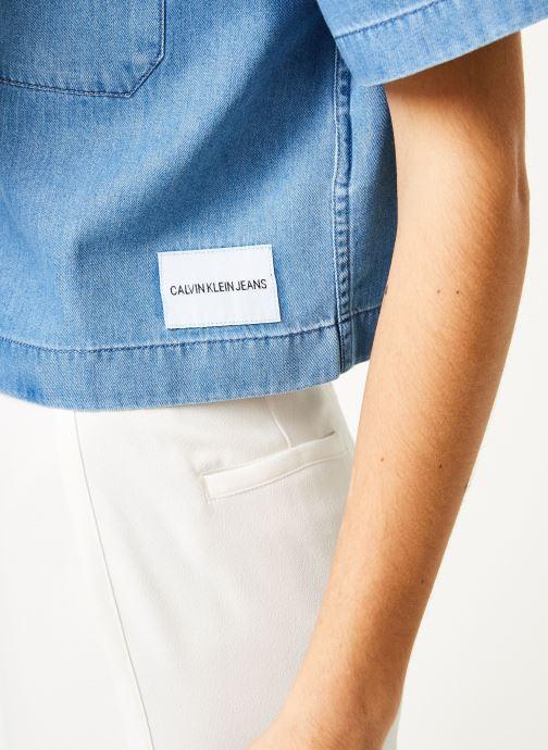 Vêtements Calvin Klein Jeans Cropped SS Shirt Indigo Tencel Bleu vue face