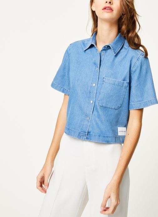 Vêtements Calvin Klein Jeans Cropped SS Shirt Indigo Tencel Bleu vue droite