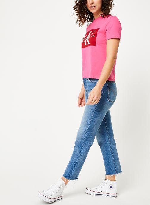 Kleding Calvin Klein Jeans Iconic Monogram Box Straight Tee Roze onder
